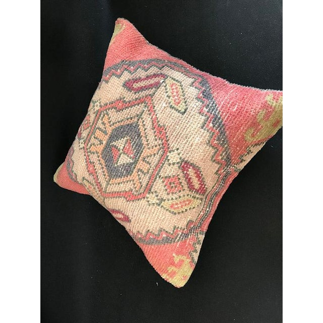 Red 1960's Turkish Tribal Handwoven Oushak Pillow For Sale - Image 8 of 11