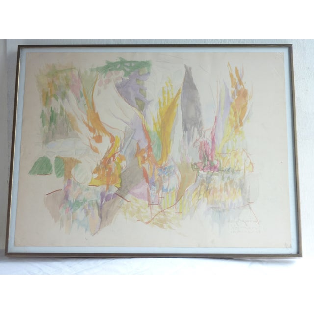 Mid-Century Abstract Watercolor Painting For Sale - Image 5 of 6