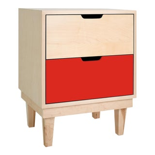 Kabano Modern Kids 2-Drawer Nightstand in Maple With Red Finish For Sale
