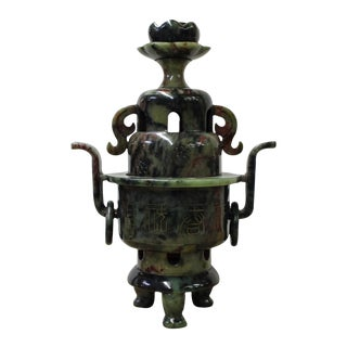 Chinese Stone Carved Green Round Ding Incense Burner Display cs2631 For Sale