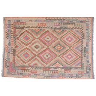Geometric Wool Kilim Rug - 5′8″ × 9′8″ For Sale