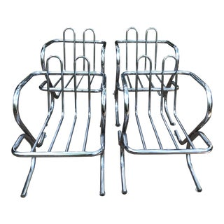 Mid Century Modern Tubular Piped Chrome Arm Chairs- Set of 4 For Sale