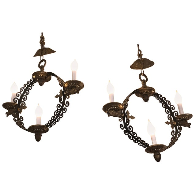 Pair of Extraordinary and Rare Medieval Style Antique Light Fixtures For Sale - Image 12 of 12