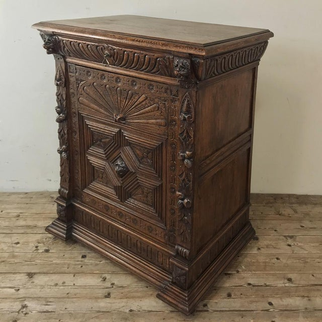 19th Century Flemish Renaissance Cabinet is a study in detail, with hand-carved sculpture across the entire facade! Such...