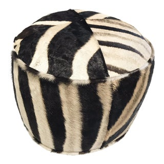 Zebra Hide Pouf Ottoman For Sale