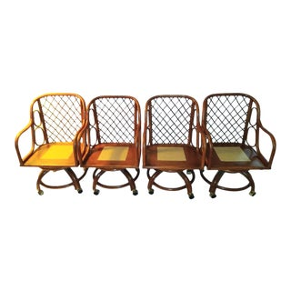 Boho Chic Bamboo Dining Chairs- Set of 4 For Sale