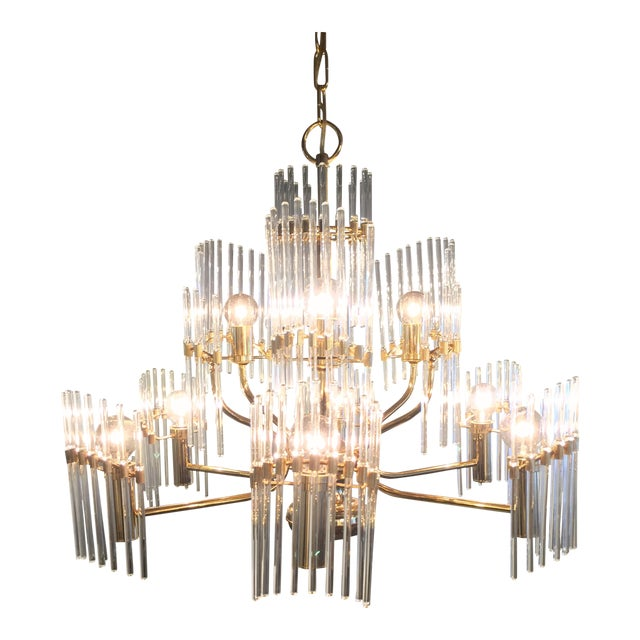 Sciolari Crystal Rod and Brass Chandelier - Image 1 of 7