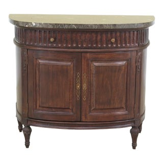 Jeffco Marble Top Round Demilune Commode Cabinet