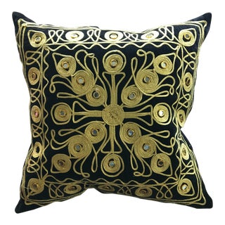 Gold Embroidered and Black Vintage Mirrored Throw Pillow For Sale