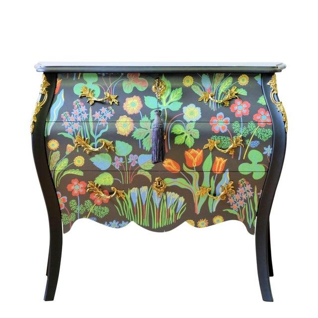 Floral Painted Rococo Bureau - Josef Frank (DaVinci Collection) For Sale - Image 4 of 4