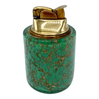 Mid Century Italian Murano Green and Copper Glass Table Lighter For Sale