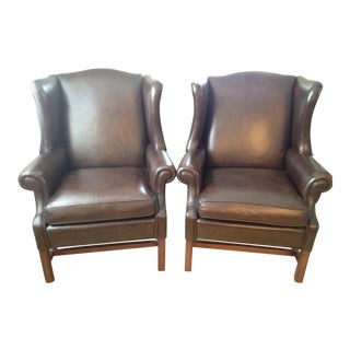 Ethan Allen Leather Wingback Chairs - a Pair