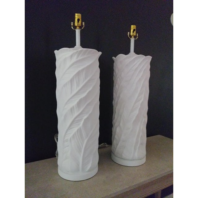 1950s Plaster Leaf Table Lamps - a Pair For Sale - Image 12 of 12