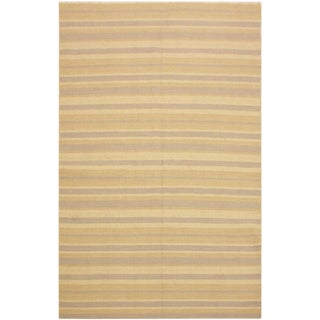Erlene Bluish Gray/Tan Hand-Woven Kilim Wool Rug -4'11 X 8'0 For Sale