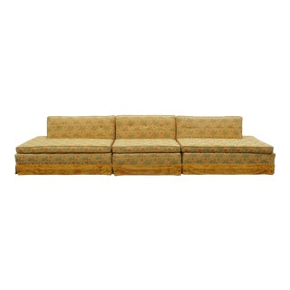 Kitsch Mid-Century Floral Upholstered 3-Pc. Sectional Sofa For Sale