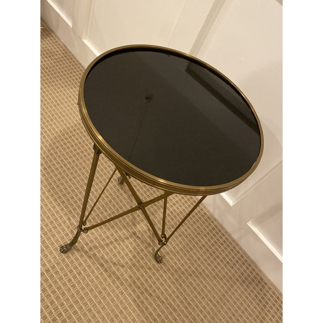 Neoclassical Iron Side Table with Granite Top Delicate and Functional