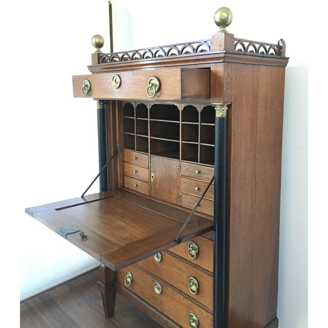 Early 19th Century Empire Drop-Front Oak Secretary a Abattant, France - Image 4 of 9