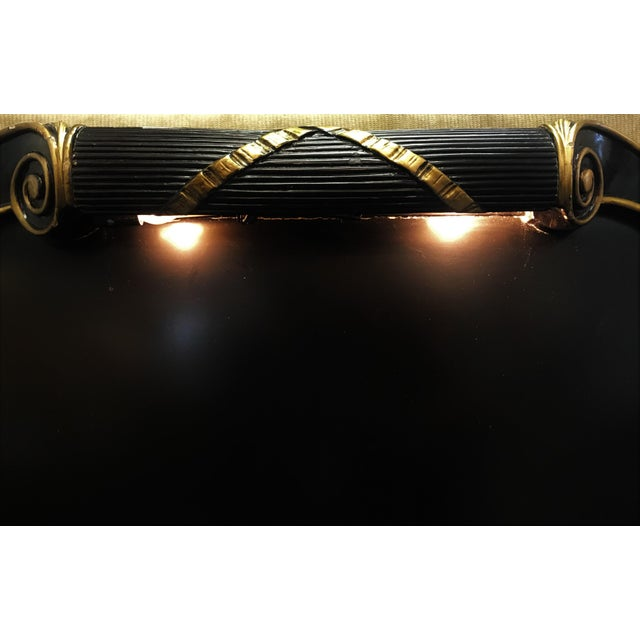 Black Vintage Art Deco Twin Headboard With Light For Sale - Image 8 of 13