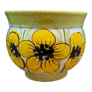 Vintage Mid-Century Italian Ceramic Yellow Flowers Planter / Cachepot For Sale