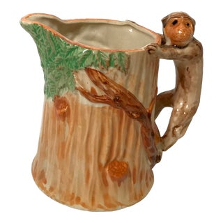 Early 20th Century Vintage Majolica Monkey Ewer Pitcher For Sale