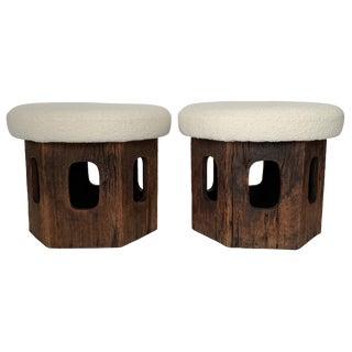 Pair of Rustic Wood Hexagon Mushroom Ottoman Footstools For Sale