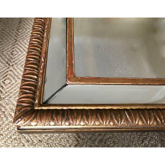 Brown Louis XVI Style 23-Karat Water Gilt Wall Mirror with Convex Glass Border For Sale - Image 8 of 13
