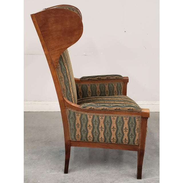 Early 20th Century Early 20th Century French Country Provincial Upholstered Maple Wood Wingback Armchair For Sale - Image 5 of 9