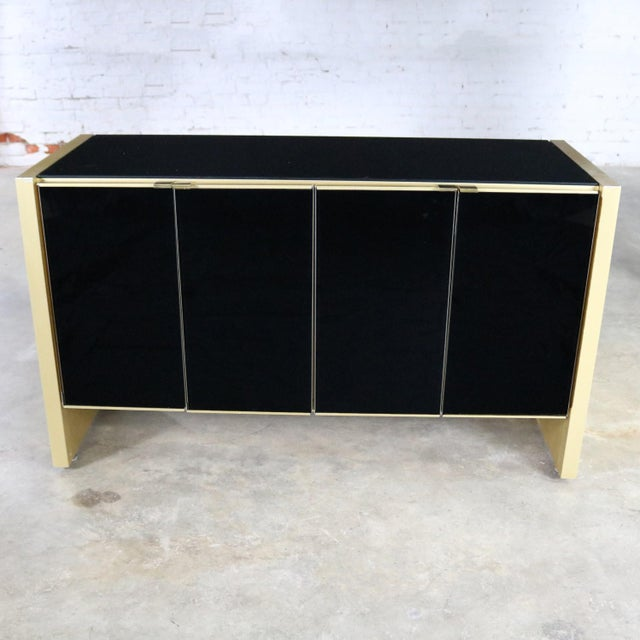 Ello Black Glass and Gold Anodized Aluminum Small Server Credenza Cabinet For Sale - Image 13 of 13