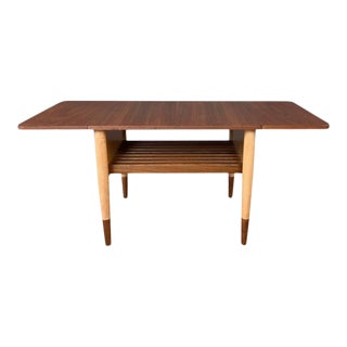 Uncommon Finn Juhl for Baker Furniture Walnut and Maple Drop-Leaf Side Table For Sale