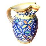 Image of 1950s Vintage 1950's Signed Fratelli Fanciullacci Italian Faience Majolica Pottery Pitcher For Sale