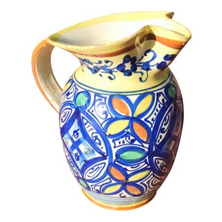 1950s Vintage 1950's Signed Fratelli Fanciullacci Italian Faience Majolica Pottery Pitcher For Sale