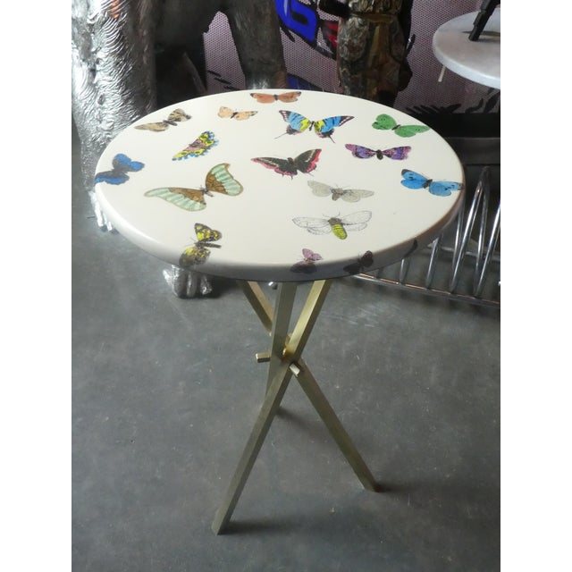 Italian 1960s Vintage Fornasetti White Butterfly Occasional Table For Sale - Image 3 of 13