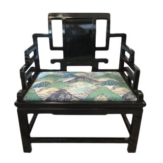 Asian Inspired Extra-Wide Chair For Sale