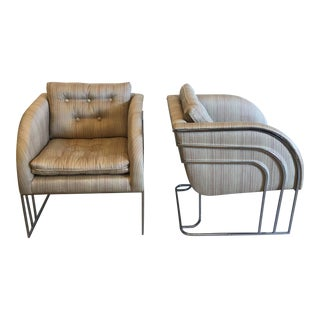 Mid Century Chrome Lounge Chairs - a Pair