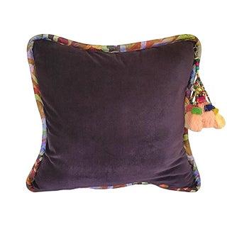 Dark Purple / Bakuba Lodge Velvet Throw Pillow For Sale