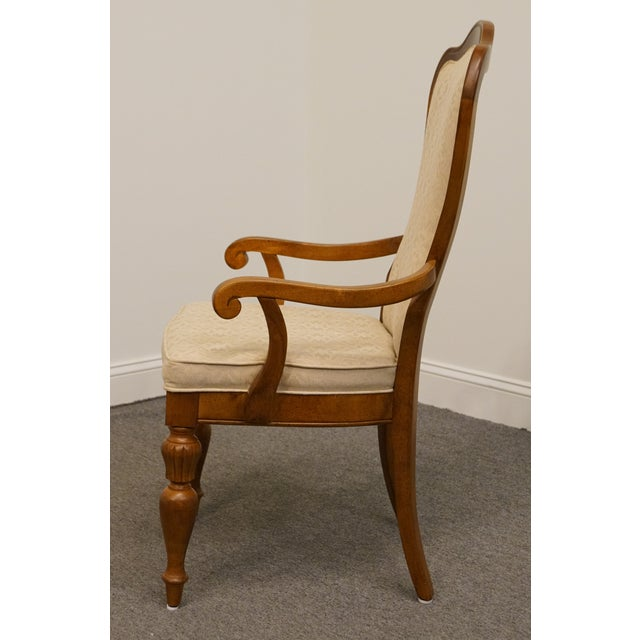 Late 20th Century Late 20th Century Vintage Stanley Furniture Italian Tuscan Style Upholstered Dining Arm Chair For Sale - Image 5 of 9