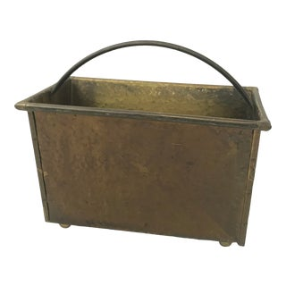 Vintage Mid Century Brass Rectangular Hammered Look Basket Style Magazine Tote For Sale