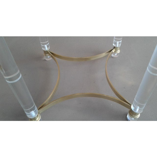 Vintage Lucite & Brass Occasional Table in the Manner of Charles Hollis Jones - Image 4 of 6