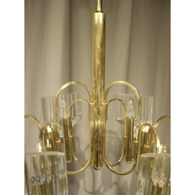 Metal 1960s Vintage Six-Light Glass and Brass Chandelier US Wired For Sale - Image 7 of 8