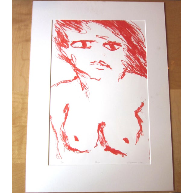 """1970s Vintage Suzanne Peters """"Face"""" Limited Edition Signed Nude Woman Figural Lithograph For Sale - Image 11 of 11"""