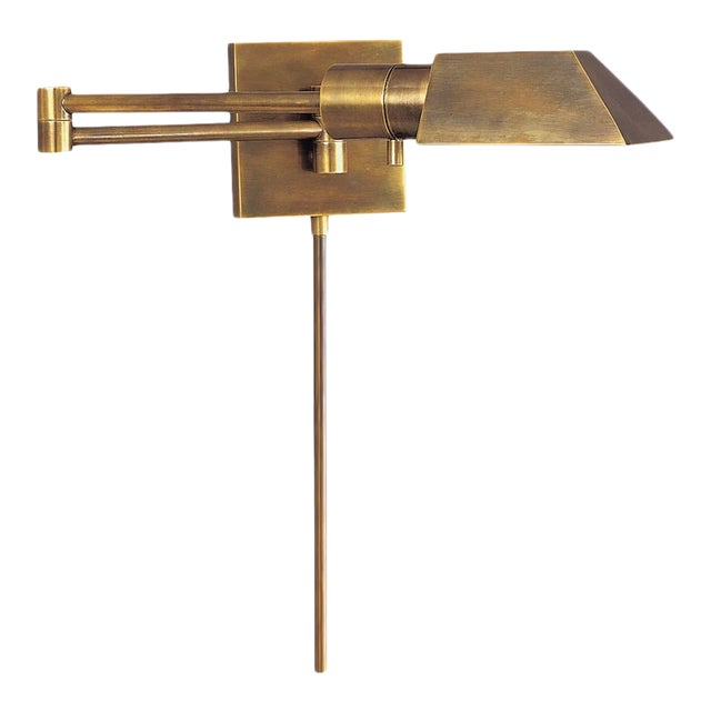 Visual Comfort Swing Arm Wall Light in Hand-Rubbed Antique Brass With Matching Cord Cover For Sale