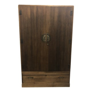 Vintage Japanese Bamboo Motif Two-Piece Armoire