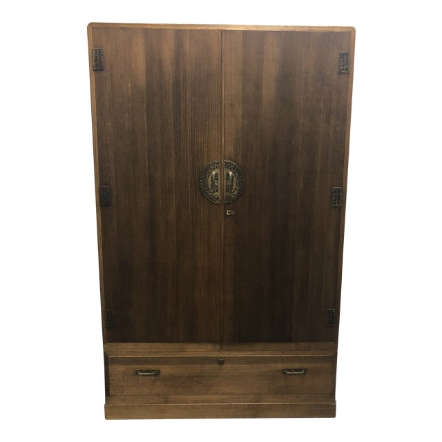Vintage Japanese Bamboo Motif Two-Piece Armoire For Sale