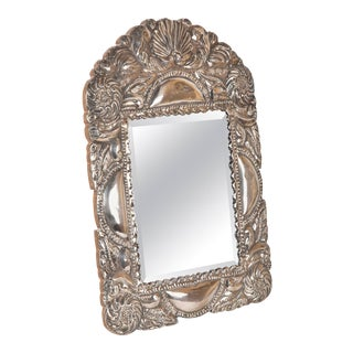 Spanish Colonial Sterling Silver Mirror Frame For Sale