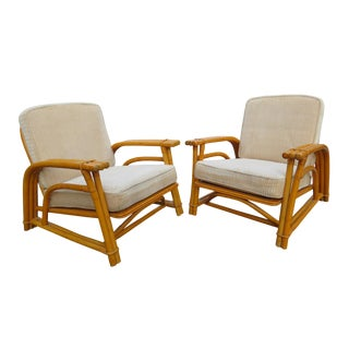 1950s Mid-Century Modern Three-Strand Bamboo / Rattan Lounge Chairs by Ficks Reed - a Pair For Sale