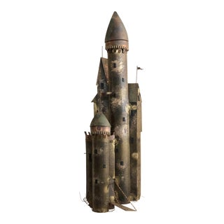 Curtis Jere' Mid Century Modern Brass Castle Wall Sculpture For Sale