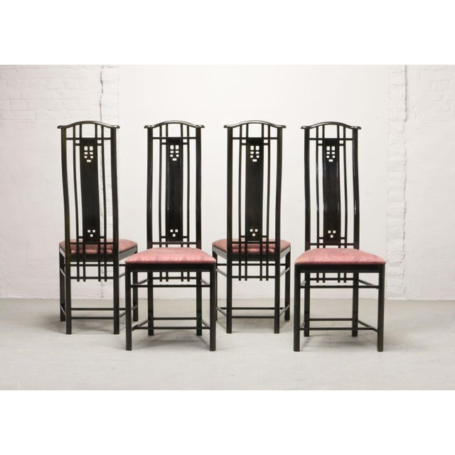 Mid-Century Italian Design Black Lacquered and Pink Fabric Dining Chairs by Giorgetti, 1970s - 1980s. For Sale - Image 13 of 13