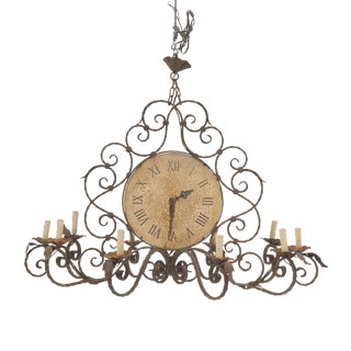 English Country Rustic Wrought Iron Chandelier For Sale