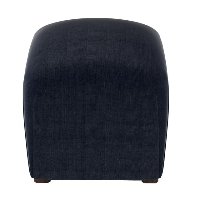 Contemporary Linen Navy Cube Ottoman For Sale - Image 3 of 6