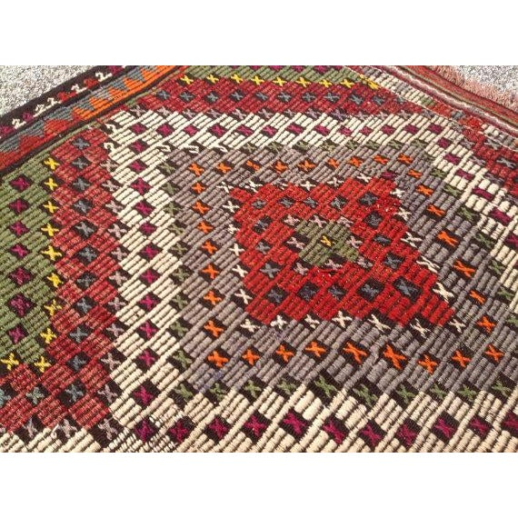 "Vintage Turkish Kilim Rug - 5'2"" X 8'6"" For Sale - Image 5 of 6"